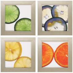 "Set of 4 Colorful Citrus 16"" Square Kitchen Art Prints"