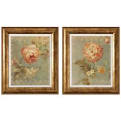 Set of 2 Framed Rose and Poppy Floral Wall Art Prints