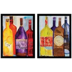 "Set of 2 Bourgogne I/II 26"" High Framed Wine Wall Art"
