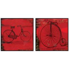 "Set of 2 Bicycle I/II 21"" Square Bold Red Wall Art"