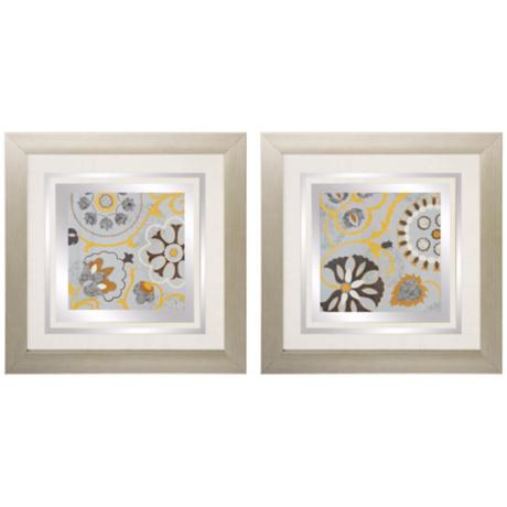 "Set of 2 Silk Road I/II 24"" Square Blue Floral Wall Art"
