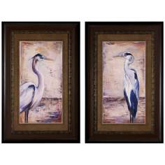 "Blue Heron I/II Set of 2 34"" High Framed Wall Art"