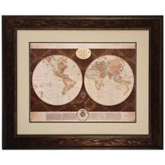 "36"" Wide Framed World Map Wall Art"