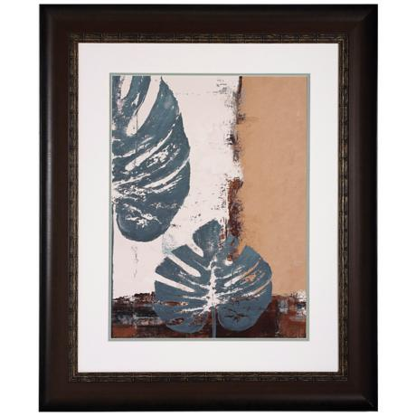 "Blue Leaves I 36"" High Framed Leaf Wall Art Print"