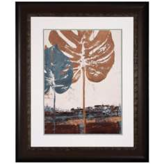 "Blue Leaves II 36"" High Framed Leaf Wall Art Print"