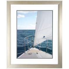 "Voyage I 34"" High Framed Sailboat Wall Art Print"