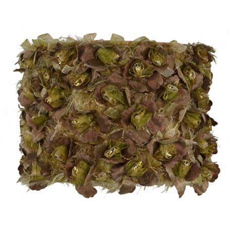 Olive Flower Ribbon Drum Shade 10x10x8 (Spider)