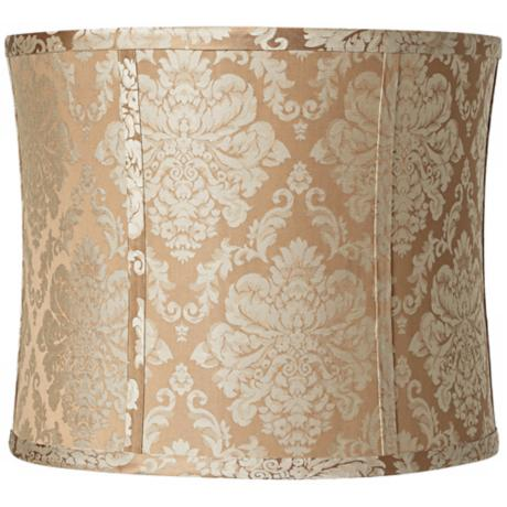 Tan and Taupe Damask Drum Lamp Shade 13x13x11 (Spider)