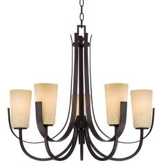 "Cream Glass 26 1/4"" Wide 5-Light Imperial Bronze Chandelier"