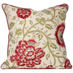 "Ruby Red Floral 18"" Feather Down Throw Pillow"