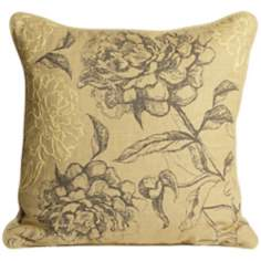"Sketched Floral 18"" Feather Down Throw Pillow"