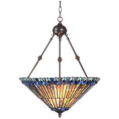 "Tiffany Style 3-Light Ladybug 25"" High Glass Pendant Light"