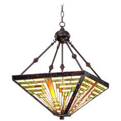 "Tiffany Style 3-Light Bronze 27"" High Glass Pendant Light"
