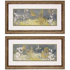 Set of 2 Fluttering Framed Butterfly Wall Art Prints