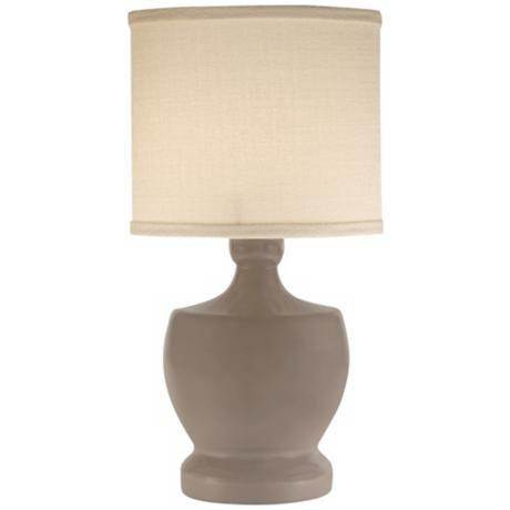 Thumprints Fleur-de-Lis Warm Grey Mini Table Lamp