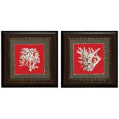 "Set of 2 Coral I/IV 22"" Square Framed Wall Art"