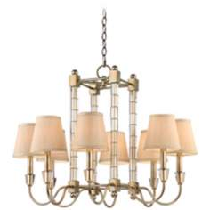 "Glass Column 8-Light 28"" Wide Burnished Silver Chandelier"