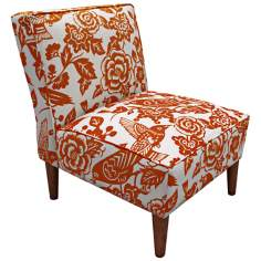 Tangerine Floral And Canary Print Accent Chair