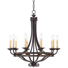 "Greene Park 10-Light 30"" Wide Bronze Candelabra Chandelier"