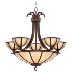 "Wilton Bronze 26"" Wide Ecru Glass Chandelier"