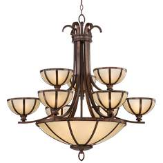 "Wilton Bronze 30 1/2"" Wide Ecru Glass Entry Chandelier"