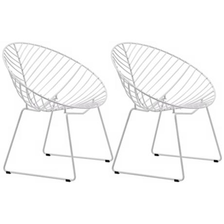 Set of 2 Zuo Modern Whitworth White Chrome Accent Chairs