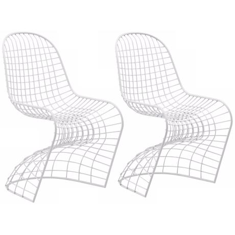 Set of 2 Zuo Modern Wickham White Steel Dining Chair