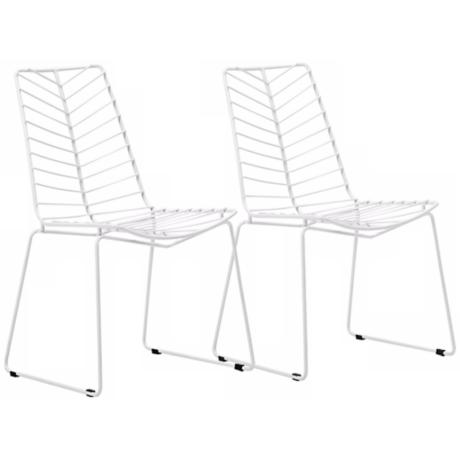 Set of 2 Zuo Modern Wendover White Steel Dining Chair