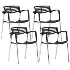 Set of 4 Zuo Modern Scope Black Dining Chair