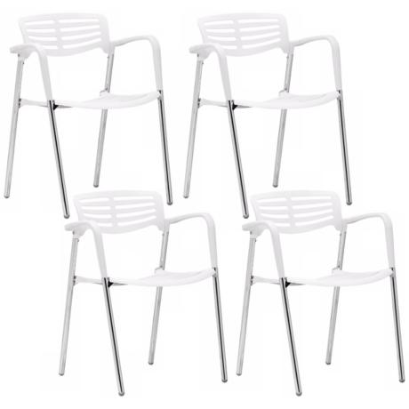 Set of 4 Zuo Modern Scope White Dining Chair