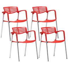 Set of 4 Zuo Modern Scope Red Dining Chair