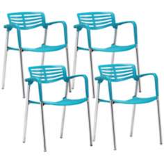 Set of 4 Zuo Modern Scope Turquoise Dining Chair
