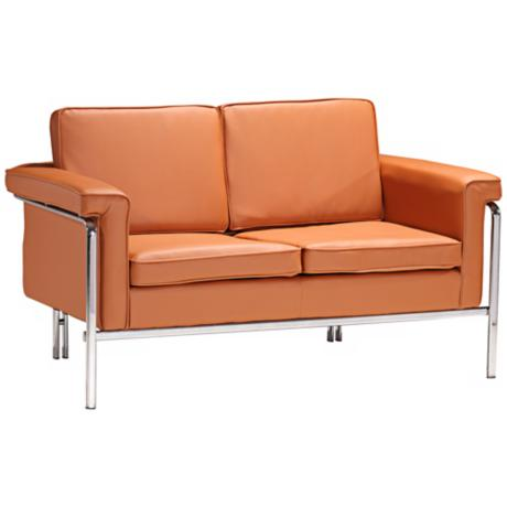 Zuo Singular Terracotta Leatherette and Chrome Love Seat