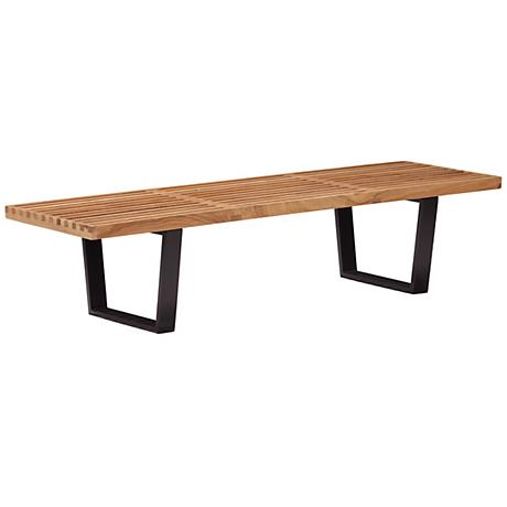 Zuo Heywood Triple Natural Wood Bench
