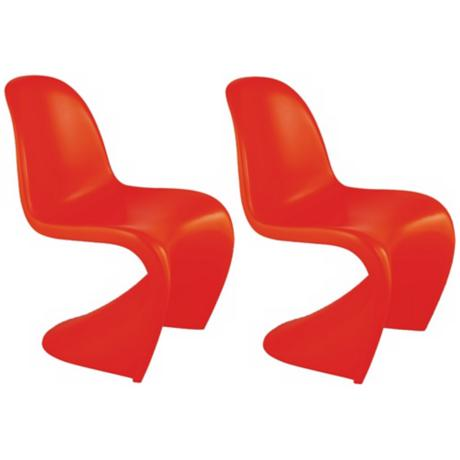 Set of 2 Zuo Baby S Orange Kids Chairs
