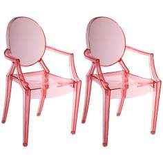 Set of Two Zuo Baby Anime Transparent Red Kids Armchairs