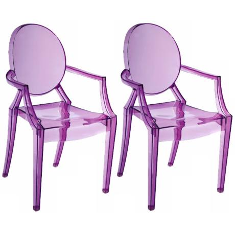 Set of Two Zuo Baby Anime Transparent Purple Kids Armchairs