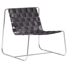 Zuo Prospect Park Black Leather Lounge Chair