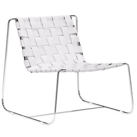 Zuo Prospect Park White Leather Lounge Chair