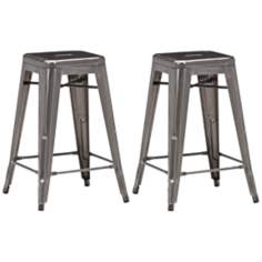 Set of 4 Zuo Modern Marius Gunmetal Counter Stools
