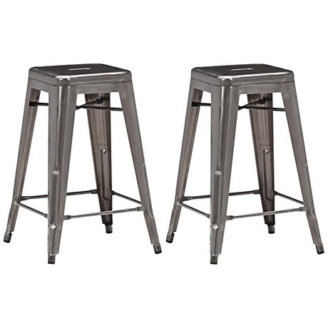 "Zuo Marius 25 1/2"" Backless Gunmetal Counter Stools Set of 2"