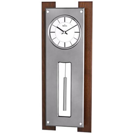 "Bulova Gramercy 23 1/4"" High Titanium and Walnut Wall Clock"