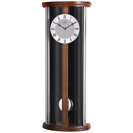 "Bulova Colton 22 1/2"" High Black and Walnut Wall Clock"