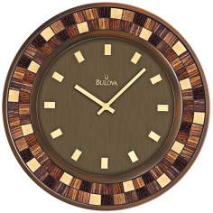 "Bulova Mosaica 19"" Square Glass Tile Wall Clock"