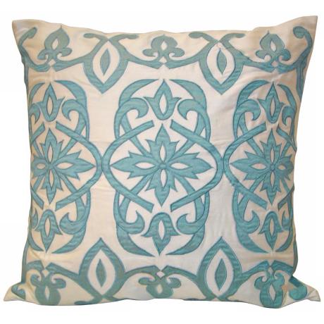 "Ivory And Light Blue 18"" Square Throw Pillow"