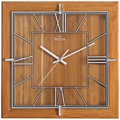 "Bulova Studio 12"" Square Bamboo Wall Clock"