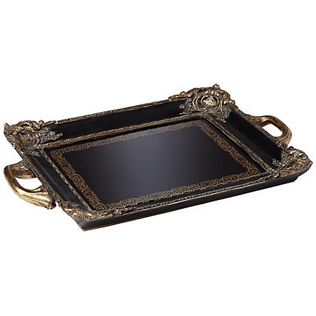 Mirrored Black and Gold Decorative Tray