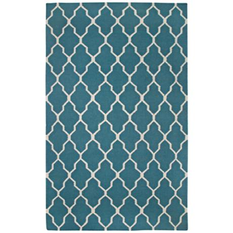 Lattice Collection Teal Flat Woven Area Rug
