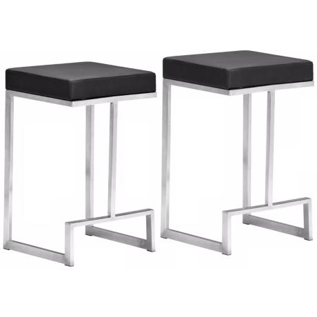 "Set of 2 Zuo Modern Darwen Black 24"" High Counter Stool"