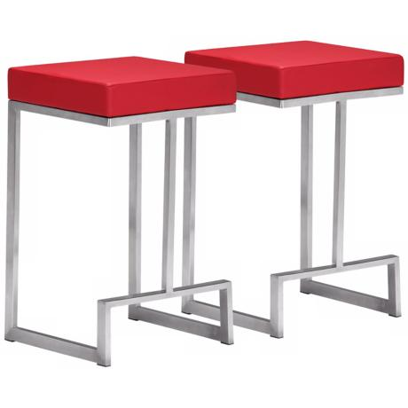 "Set of 2 Zuo Modern Darwen Red 24"" High Counter Stool"